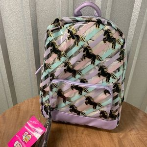 NWT Betsey Johnson clear backpack with unicorns.